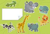 Cartoon animals - label - illustration for the children — Stock Photo
