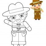 卡通女孩-男孩-娃娃-着色页-图为孩子们 — 图库照片 #35970725