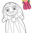 Cartoon girl - boy - doll - coloring page - illustration for the children — Stock Photo #35970735