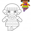 Cartoon girl - boy - doll - coloring page - illustration for the children — Stock Photo