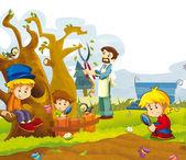 Happy children having fun in the vegetable garden — ストック写真