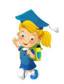 Cartoon child going to the school — ストック写真