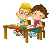 Cartoon children sitting - learning — Stock Photo