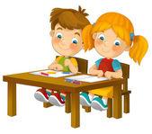 Cartoon children sitting - learning — Stock Photo