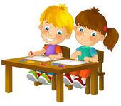 Bambini cartoon seduto - apprendimento — Foto Stock