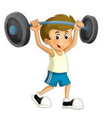 Cartoon child training — Foto Stock