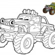 Stock Photo: Jeep- coloring page
