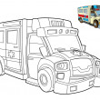 Ambulance- coloring page — Stock Photo