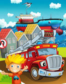 Cartoon transport on the street — Stock Photo