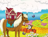 Cartoon farm illustration — Stock Photo