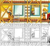 Children on construction site — Stock Photo