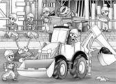 Barn på byggarbetsplats — Stockfoto