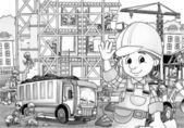 çocuk inşaat sitesinde — Stok fotoğraf