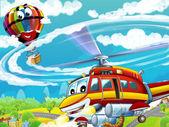 Cartoon helicopter — Stock Photo