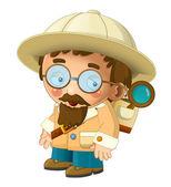 The adventurous scientist on the trip — Stock Photo