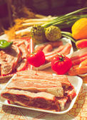 Group vegetables and meat uncooked — Stock Photo