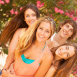Group of teenagers enjoying at the park — Stock Photo