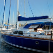 Dark blue sailing yacht on anchor — Foto Stock #12116108