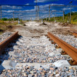 Surrealistic view of not completed railway - Stock Photo