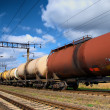 The train tanks with oil and fuel — Stock Photo