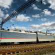 Стоковое фото: Electric train and electric infrastructure