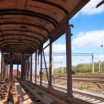 Skeleton of the old railway car — Stock Photo