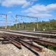 The used part of the railway and repaired site - Stock Photo