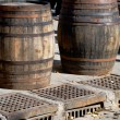 Stock Photo: Two wooden cask for wine