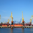 View on trading port with cranes - Stock Photo