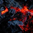 Stock Photo: Wood coal burns on fire
