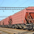 The cargo train with cars - Stock Photo