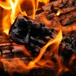 Closeup of the burning fire woods — Stock Photo