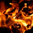 Closeup of burning fire wood — Stock Photo