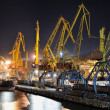 Night view of the industrial port and ship — Stock Photo