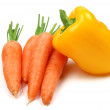The carrots and pepper on white — Stock Photo