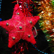 Red star hanging on fir tree — Stock Photo #12118602