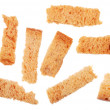 Stock Photo: Group of small rye grain cracker on white