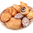 Fresh buns in basket isolated — Stock Photo