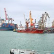 View on trading port with the ships — Stock Photo