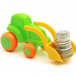 Stock Photo: Toy excavator loads money