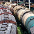 Stock Photo: Railway tanks for mineral oil and other cargoes