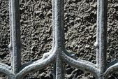 Fragment of an ancient iron fence of church — Stock Photo