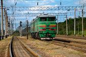 The alone locomotive on the railway — Stock Photo