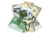 Money and decorative purse isolated — Stock Photo
