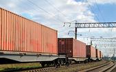 货物通过铁路运输 — 图库照片