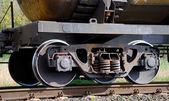 The wheel mechanism of the train — Stock Photo