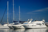 White yachts in harbour — Stock Photo