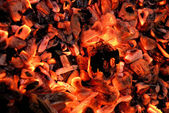 Closeup of the wood on fire — Stock Photo