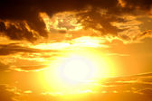 Big sun. bright sunset — Stock Photo