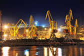 Night view of the industrial port — Fotografia Stock